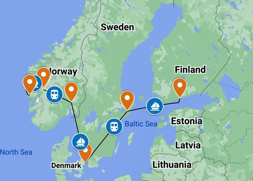 Hands On Travel Sign Language Deaf Tours ASL nordics Sweden Norway Finland Denmark Map route itinerary